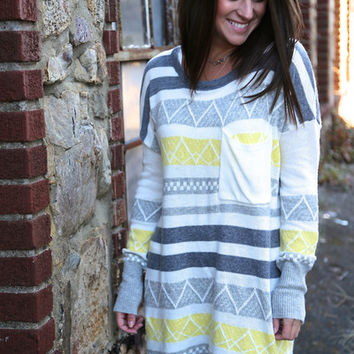 Gray + Yellow Tribal {Oversized Knit}