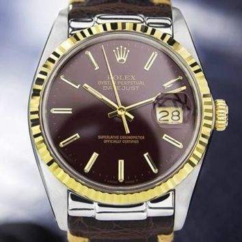 Mens Rolex Oyster Datejust 16013 18K & SS Automatic Dress Watch, Burgundy #5511