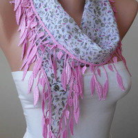 Lightweight - Light Pink and White Flowered Scarf with Pink Trim Edge