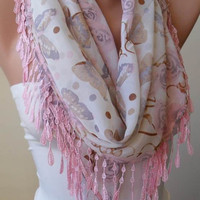 NEW - Roses and Butterflies - Light Pink - Beige - Silk - Chiffon Scarf with Pink Trim Edge