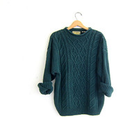 vintage chunky cable knit sweater. dark green oversized pullover.