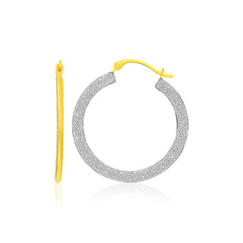 14K Two-Tone Gold Round Textured Hoop Earrings