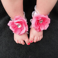 Barefoot Baby Sandals - Infant Sandals - Pink Baby Sandals - Bottomless Sandals - Baby Girl Sandals - Newborn Sandals - Baby Shoes