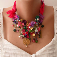 Unique Necklace - Wedding Necklace - Handmade Design - Summer Colors - Crochet and Bead Necklace