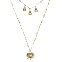 Lotus with Three Buddhas Necklace