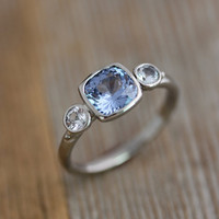 Custom 5 Stone Rings for Lynette in 14k PD White Gold, White Sapphires and Blue Spinel