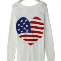 White Long Sleeve Button Up Cardigan with American Flag Prin