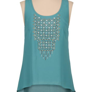 high-low chiffon tank with mixed metal studs