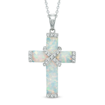 Lab-Created Opal and White Sapphire Wrap Cross Pendant in Sterling Silver