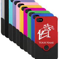 Personalized Custom Engraved iPhone 4 Case/Cover - HORSE-HURDLES
