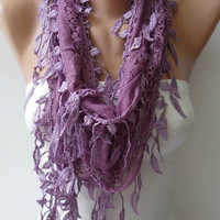 New - Lilac Lace Scarf with Lilac Lace Trim Edge