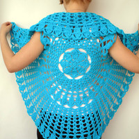 Mandala Fashion Shrug   Cotton turcoise Vest Woman Hand Crocheted Circle shrug NEW