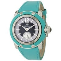 Glam Rock Women's GRD4001TT Palm Beach Women's Palm Beach Black and White Dial Turquoise Leather Watch - designer shoes, handbags, jewelry, watches, and fashion accessories | endless.com