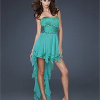 High-low Strapless Scoop Neckline Beaded Empire Ruffled Skirt Chiffon Prom Dress PD1986 Dresses UK