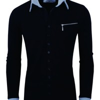 Tom's Ware Mens Casual Fashion Collar Contrast Button Up Cardigan