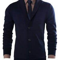 Tom's Ware Mens Long-Sleeved Plain Button Front Cardigan