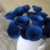 True Blue Paper Flowers Bouquet Royal Blue 18 by FlowerThyme