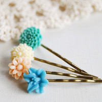 Set of 4  Resin Flower Cabochon Hair Bobby Pins.Teal, Cream, Peach, Blue. Vintage Style, Antiqued Bronze Hair Pins.