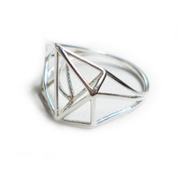 Architectural Structure Geometric Sterling Silver Ring