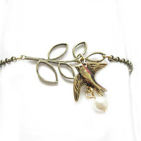 Bird Leaf Bracelet Bronze Chain Leave Pearl Charm Jewelry Gift for Wedding Birthday