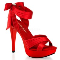 "FABULICIOUS CTAIL568 Women's Hot Ankle Strap Sandal 5""Stiletto Heel 1"" Platform, Color:Red Satin/Red, Size:9"