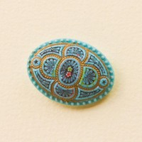 Victorian Painted Glass Button Imit.. on Luulla