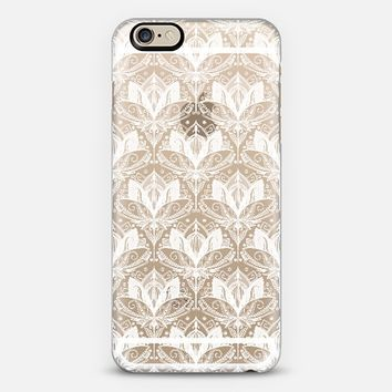 Snow White Art Deco Lotus Lace Pattern on Crystal Transparent iPhone 6 case by Micklyn Le Feuvre | Casetify