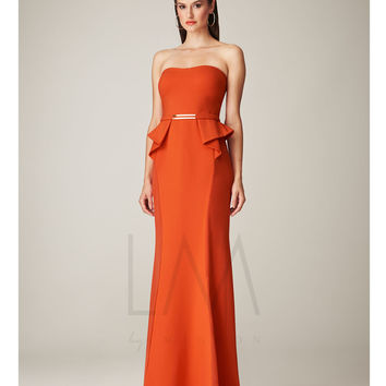 LM by Mignon Coral Strapless Peplum Long Gown Prom 2015