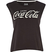 black coca cola print tank top