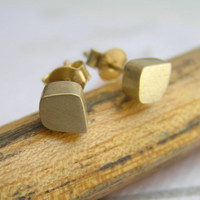 Gold Stud Earrings - Freeform Cube Post Earrings 14k Gold