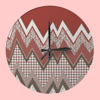I love ZigZag! Round Wall Clocks from Zazzle.com