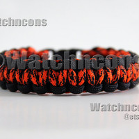 Classic Neon Orange Camo & Black Paracord Survival Bracelet Halloween Para Cord Band Strap