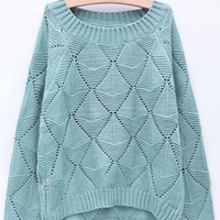 Candy Color Hollow Out Sweater Green$45.00