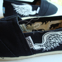 wings hand painted on TOMS shoes-made to order