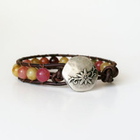 Rustic Leather Wrap Bracelet, Rainbow Soocho Jade, Chan Luu Style, Bohemian Chic, Earthy Beaded Leather Cuff