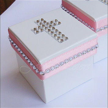 Girls Baptism Favor Box In Pink And White With A Silver Rhinestone Cross