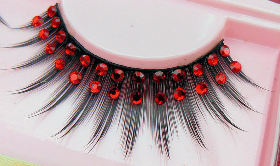 Exclusive False Eyelashes with Genuine Red Preciosa Crystal Diamante Rhinestones