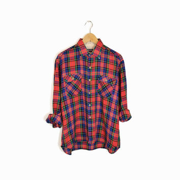 Vintage Holiday Plaid Lumberjack Shirt in Red Green Blue - men's large