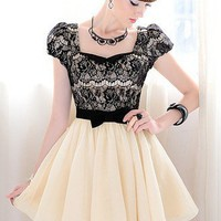 Black And Ivory Lace Color Block Cocktail Dress. Sweet Princess Dress