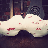 Embroidered moustache pillow by MrTeacup on Etsy