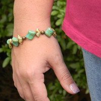 Green and Brown Stone Bracelet- OOAK