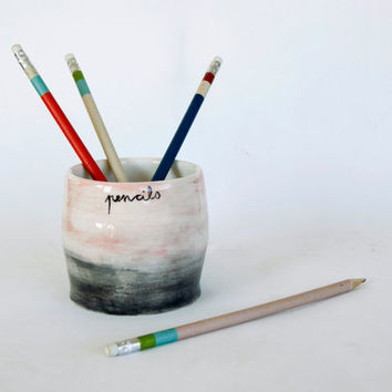 Ceramic Pencil Holder/ Back to school/ from viruset on Etsy