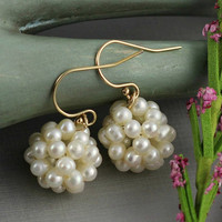 Bridal Earrings, Wedding, White Pearl Earrings, Unique Bridesmaids Gift, Freshwater Pearl Ball, Gold Vermeil, Cluster Earrings, Elegant Gift