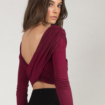 Overlapping Cropped Top - Burgundy - Burgundy /