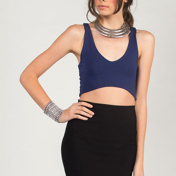 Sporty V Neck Crop Top - Navy - Navy /