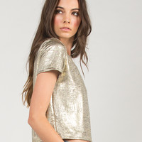 Rusted Gold Cropped Tee - Gold /