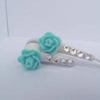 Pretty Robin's Egg blue Rose Earbuds with Swarovski crystals
