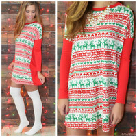 Up On The Housetop Red & Green Reindeer Print Tunic