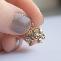 Indian Elephant Charm Necklace - Solid Bronze Elephant Pendant . 14K Gold-Filled Chain . Ethnic, Exotic &amp; Bohemian