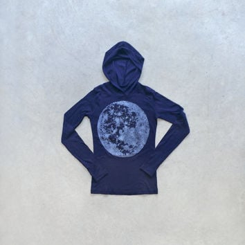 Women's MOON hoodie. Fitted sweatshirt for women. American Apparel hoodie in navy blue, size S M L Xl